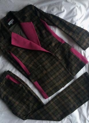 Стильный шерстяной клетчатый костюм от tatman handmade
