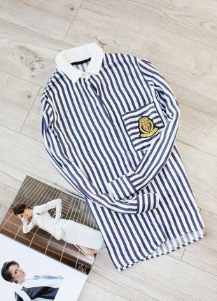 Красивая рубашка в полоску белая синяя с патчами с 8