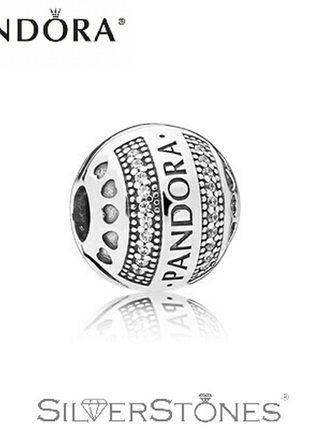 Pandora/пандора шарм/клипса с logo pandora арт. 797433cz оригинал