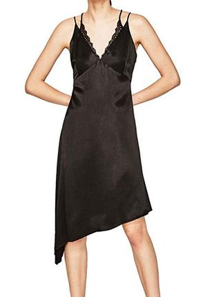 Черное платье комбинация zara