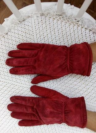 Замшевые перчатки с утеплением