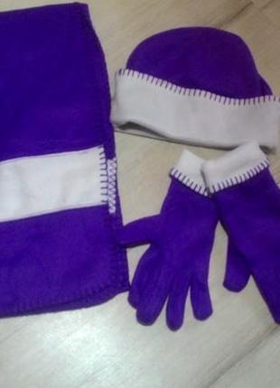 Новый теплый флисовый набор (шапка+ шарф +перчатки) от с&a