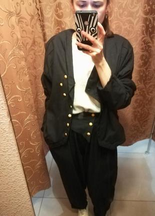 Винтажный черный теплый брючный костюм
