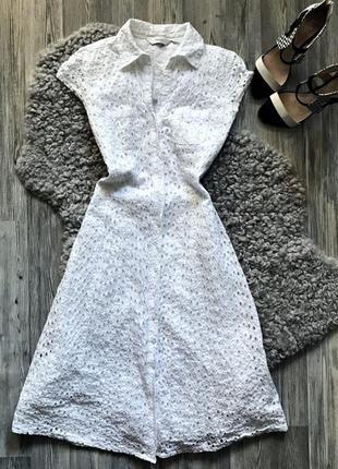 Красивое белое платье миди