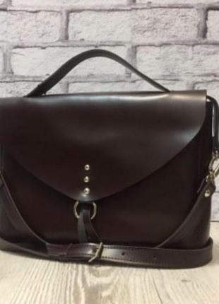 """Модная сумка,натуральная кожа от """"анко"""" украина,новая,с биркой,цвет """"шоколад"""""""