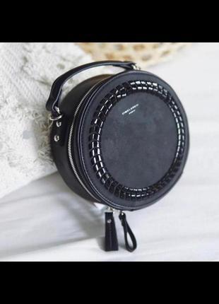 Круглый клатч лаковая косичка david jones с кисточкой cm4037 black (черный)