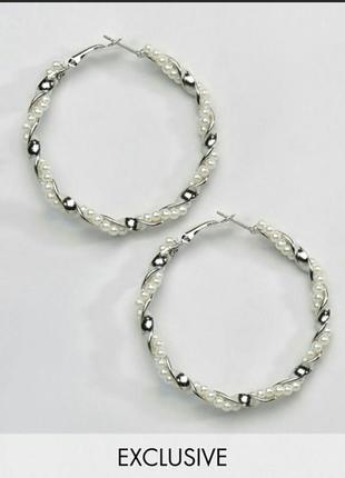 Серьги кольца серебряные жемчуг asos