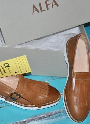 Кожаные туфли, слиппоны, мокасины alfa норвегия оригинал! 37размер
