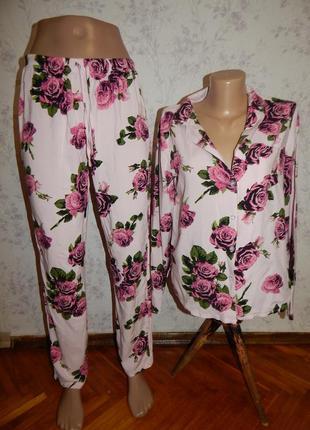 Asos пижама вискозная рубашка со штанишками р10