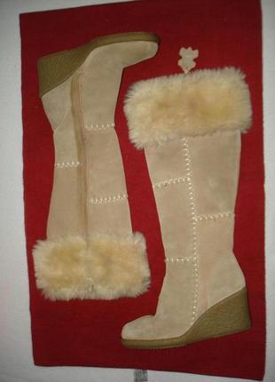 Утепленные кожаные сапоги бренд new look