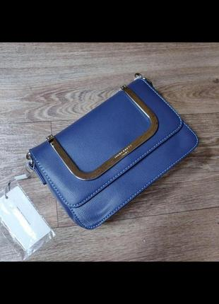 Каркасный клатч с железными ручками david jones cm3824 blue