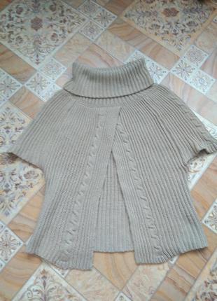 Теплое пончо свитер разлетайка
