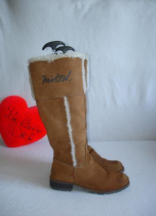 Зимние утепленные кожаные сапоги бренд mistral