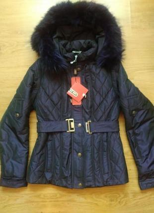 Демисезонная куртка натуральный мех енот