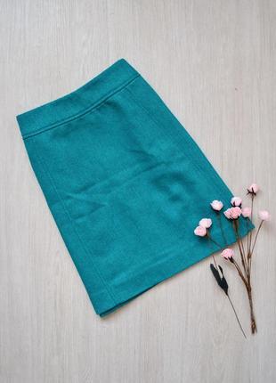 Короткая юбка в елочку в составе шерсть h&m