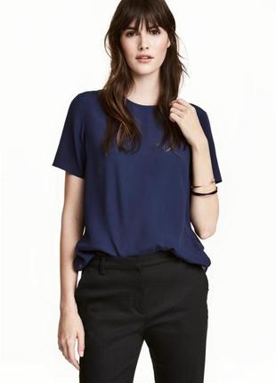 Блуза из вискозы на короткий рукав м,прямая синяя блуза из вискозы