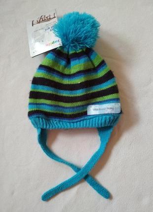 Зимняя теплая шапка на флисе для мальчика 3, 6, 9 месяцев