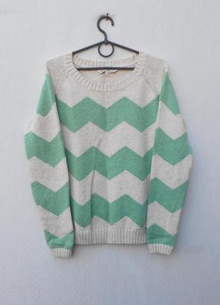 Зимний осенний вязаный  свитер реглан с длинным рукавом 88 % котон 12% льн