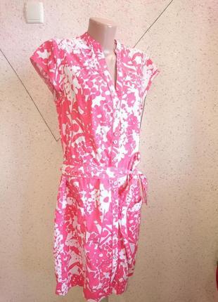 Модное платье халат с пояском 12-14