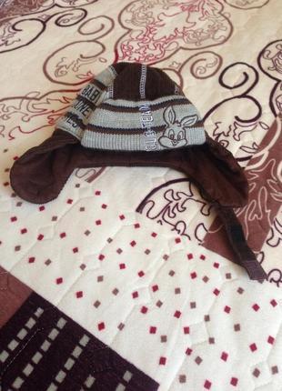 Тёплая шапка ушанка на 6-9 месяцев