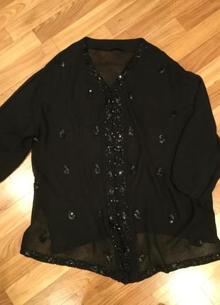 Блуза- кардиган/ вышита бисером и пайетками/ пог 64