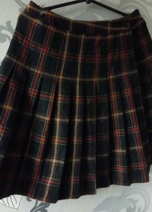 Шерстяная теплая юбка в складку на запах, плиссе, плисерованная с запахом