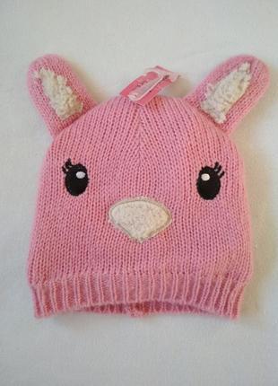 Зимняя шапочка, шапка для девочки 3, 6, 9 месяцев.