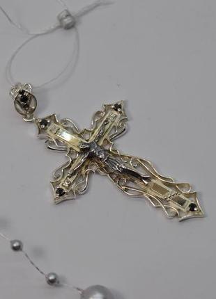 Шикарнейший серебряный #крест 6см!, #распятие, с черными камнями