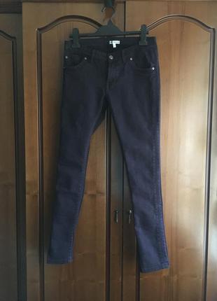 Катоновые натуральные брюки джинцы средняя посадка тёмно фиолетового цвета m&s