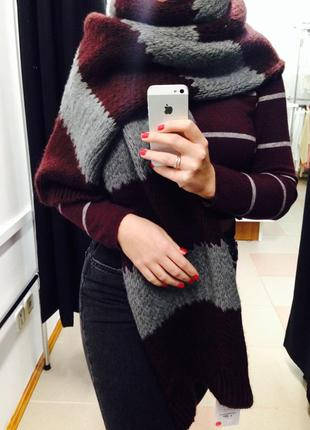 Вязаный теплый обьемный шарф бордовый с серым zara man