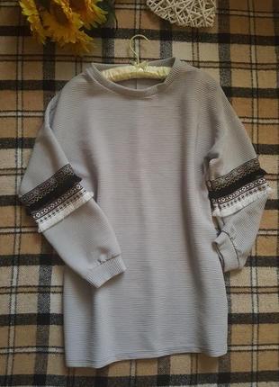 Крутая теплая туника свитер кофта с вышивкой в этно стиле