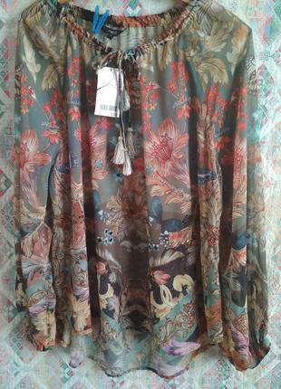 Блуза свободного кроя шифоновая с паетками и бисером