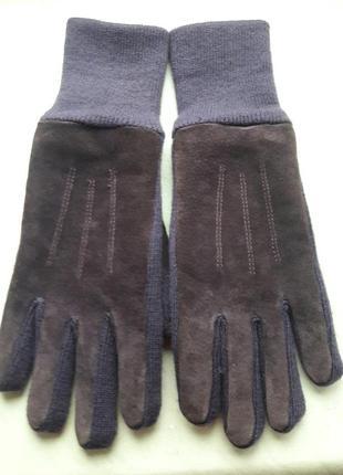 Теплые замшевые перчатки на флисе р.м