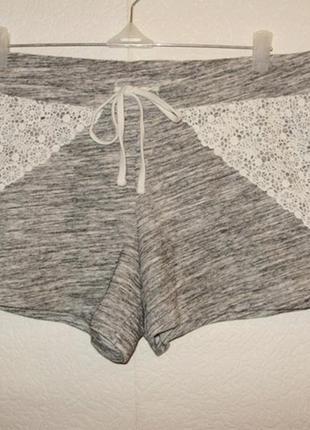 Плотные меланжевые шорты с кружевом для дома и сна xl размера
