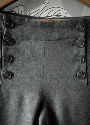 Трендовые серые широкие теплые шерстяные брюки h&m с высокой посадкой