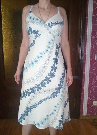 Платье — сарафан летнее. льняное. с принтом
