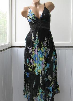 Сарафан шифоновый, формованные чашки, плесированная юбка, макси