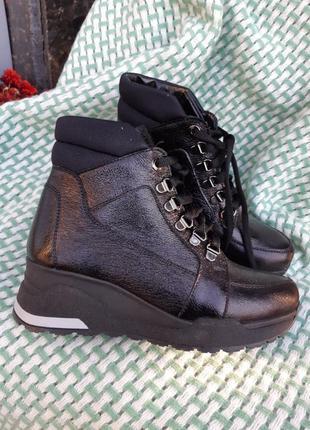 Кожаные зимние ботинки кеды
