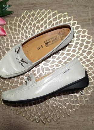 (40/26см) mephisto! кожа! комфортные фирменные закрытые туфли, мокасины с серебристым