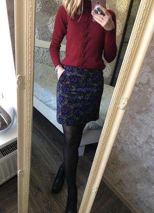Микровельветовая юбка в цветы