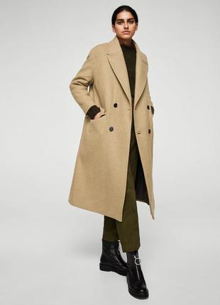 Премиум длинное шерстяное бежевое пальто оверсайз oversize mango