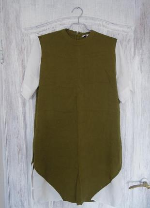 Оливковое лёгкое платье-туника