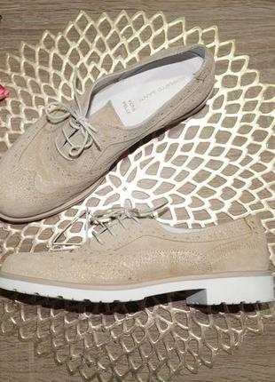 (37/24см) roberto santi! кожа! стильные туфли, оксфорды на шнуровке с золотым напылением