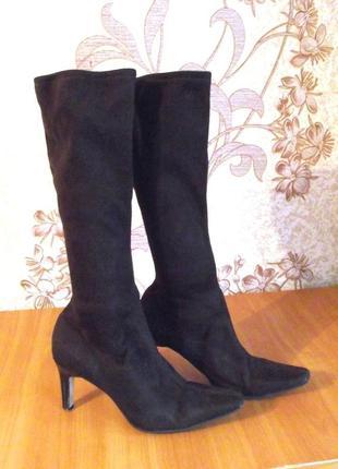 Весенние замшевые сапоги-чулки коричневые сапоги-носки