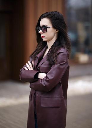 Удлиненная кожаная куртка, тренч от zara