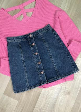 Джинсовая юбка мини с пуговками denim co