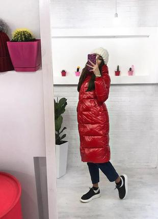 Зимняя куртка миди пуховик плащь винил теплый пуховик купить украина