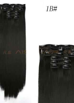 Накладные волосы черный №1в затылочная прядь на заколках длина 56 см 117