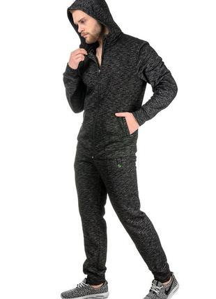 Теплый мужской костюм на флисе меланж, р. m l xl xxl