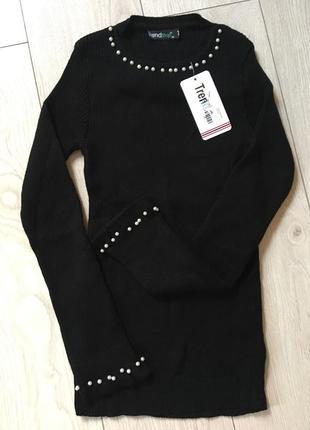 Свитер пуловер рубчик черный с жемчугами с бусинами